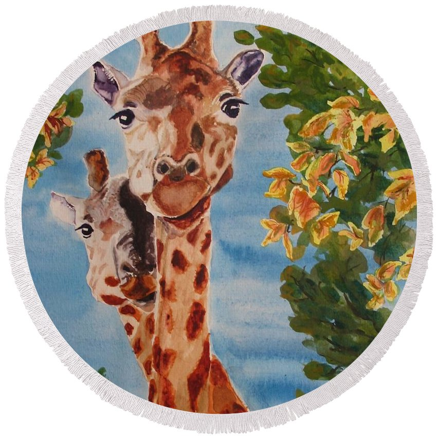 Giraffes Round Beach Towel featuring the painting Lookin Back by Karen Ilari