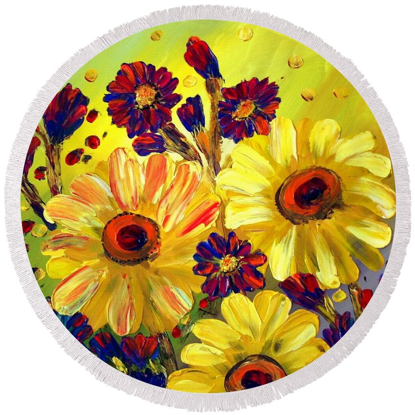 Flowers Round Beach Towel featuring the painting Looking At Sun by Luiza Vizoli