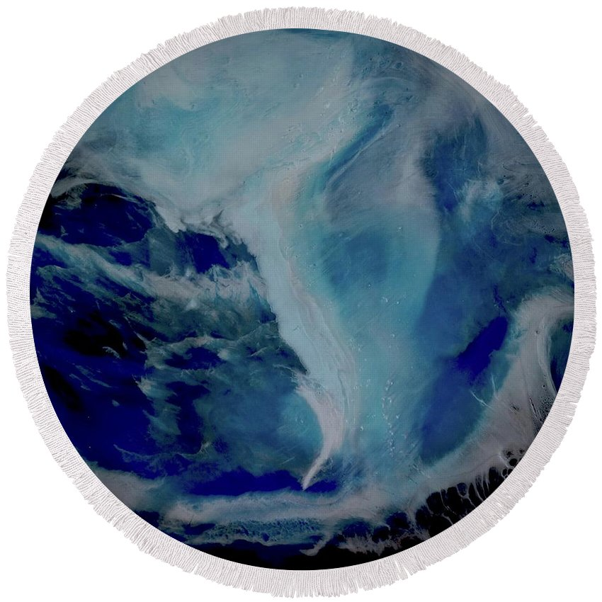 Original Round Beach Towel featuring the painting Looking Down by Kim Switzer