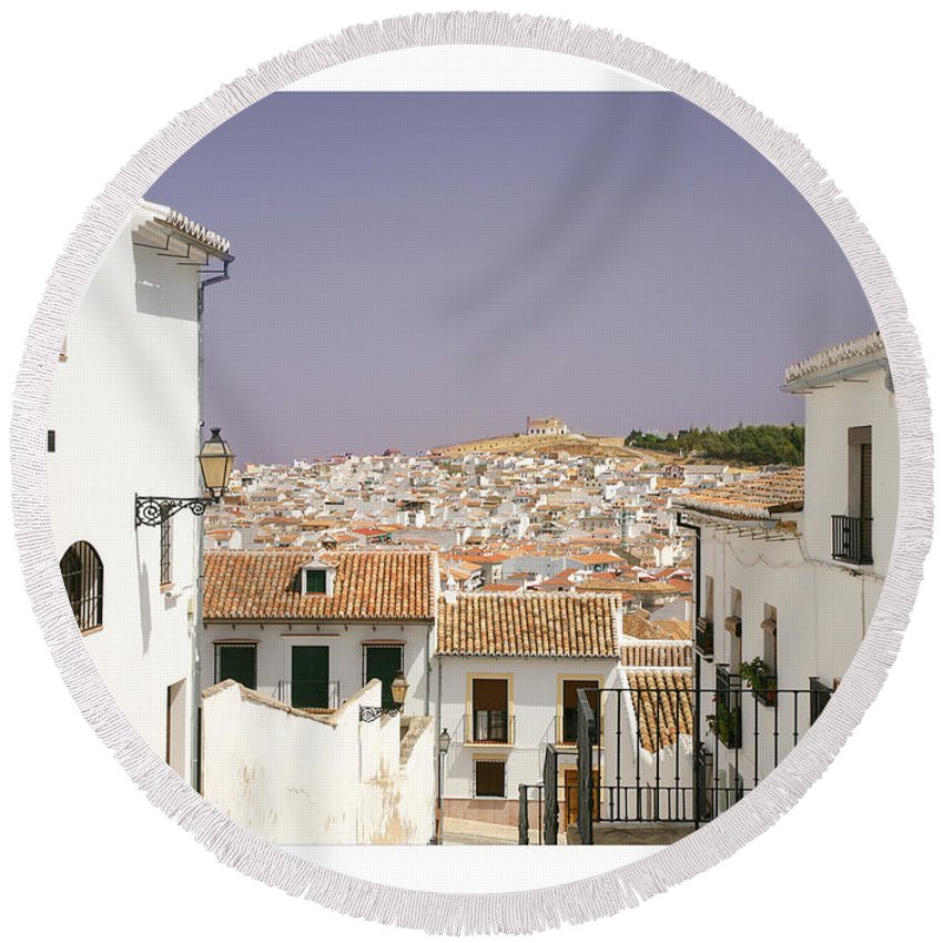 Antequera Round Beach Towel featuring the photograph Looking Down Over Antequera From Near The Church Of Santa Maria La Mayor by Mal Bray