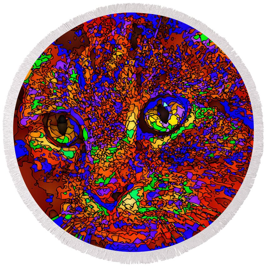 Cat Round Beach Towel featuring the digital art Looking For An Owner. Pet Series by Rafael Salazar