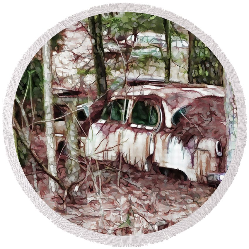 Rusty Cars In The Forest Round Beach Towel featuring the painting Looking For Love by Jeelan Clark