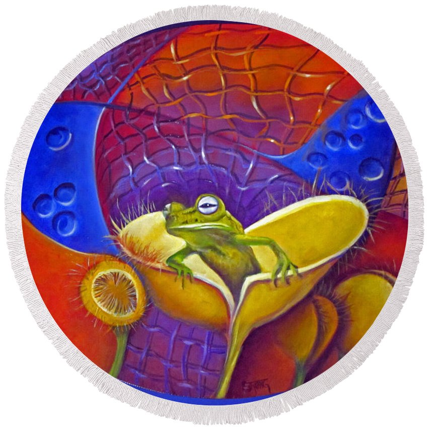 Curvismo Round Beach Towel featuring the painting Looking For Miss Piggy by Sherry Strong