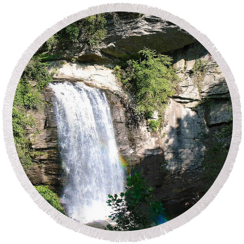 Landscape Round Beach Towel featuring the photograph Looking Glass Falls Nc by Steve Karol