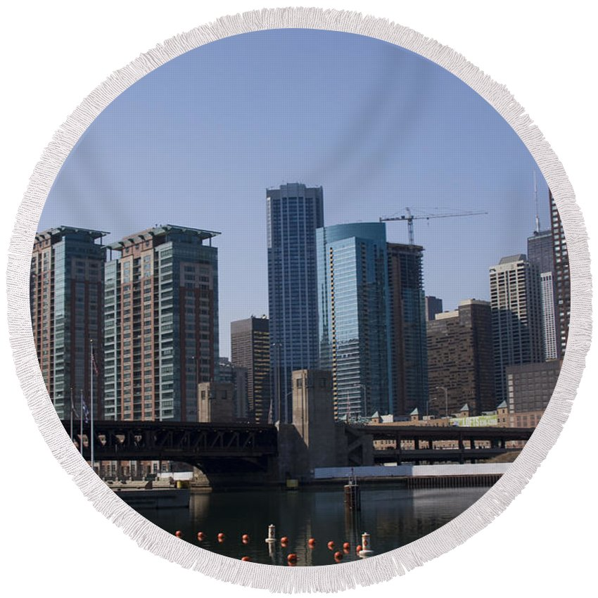 Chicago Windy City Building Tall High Big Skyscraper Water River Lake Michigan Blue Sky Metro Urban Round Beach Towel featuring the photograph Looking Into The City by Andrei Shliakhau