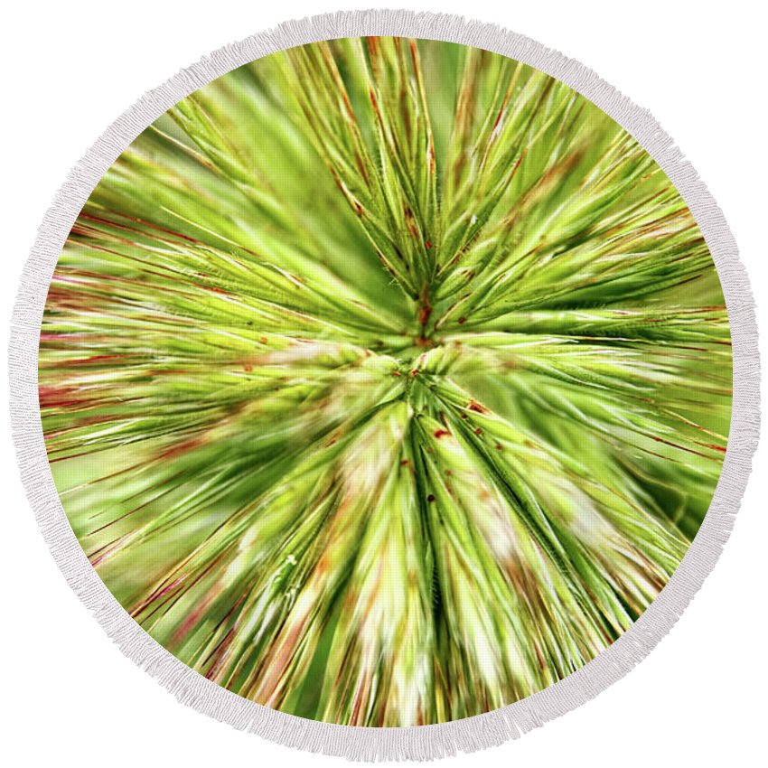 Grass Round Beach Towel featuring the photograph Looking Into The Unknown by Mariola Bitner