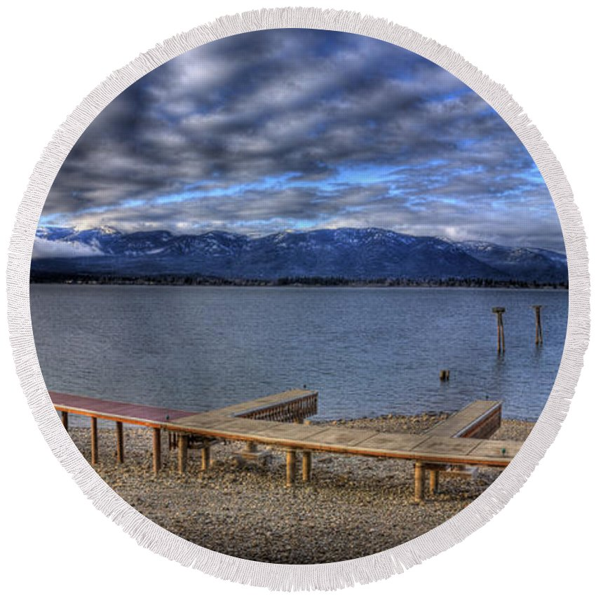 Landscape Round Beach Towel featuring the photograph Looking North From 41 South 2 by Lee Santa