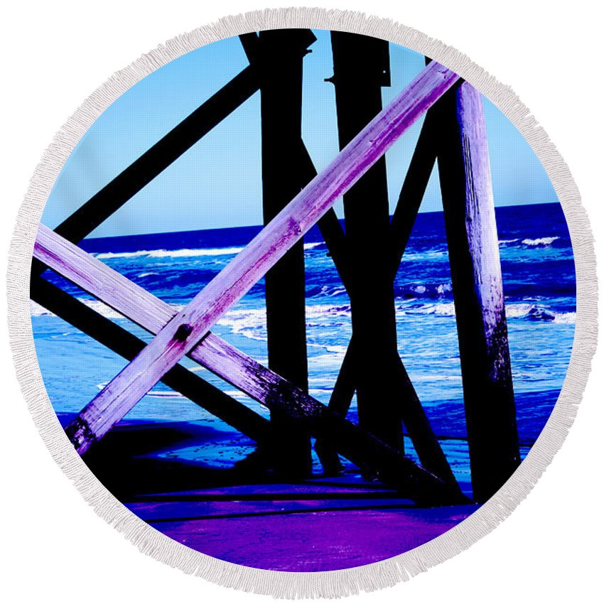 Blue Round Beach Towel featuring the photograph Looking On - Blue by Jamie Lynn