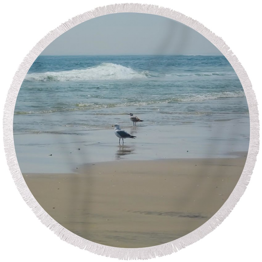 Beach Round Beach Towel featuring the photograph Looking Out Into The Sea by Bill Cannon
