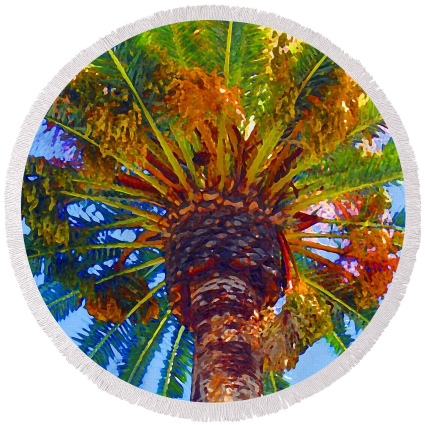 Garden Round Beach Towel featuring the painting Looking Up At Palm Tree by Amy Vangsgard