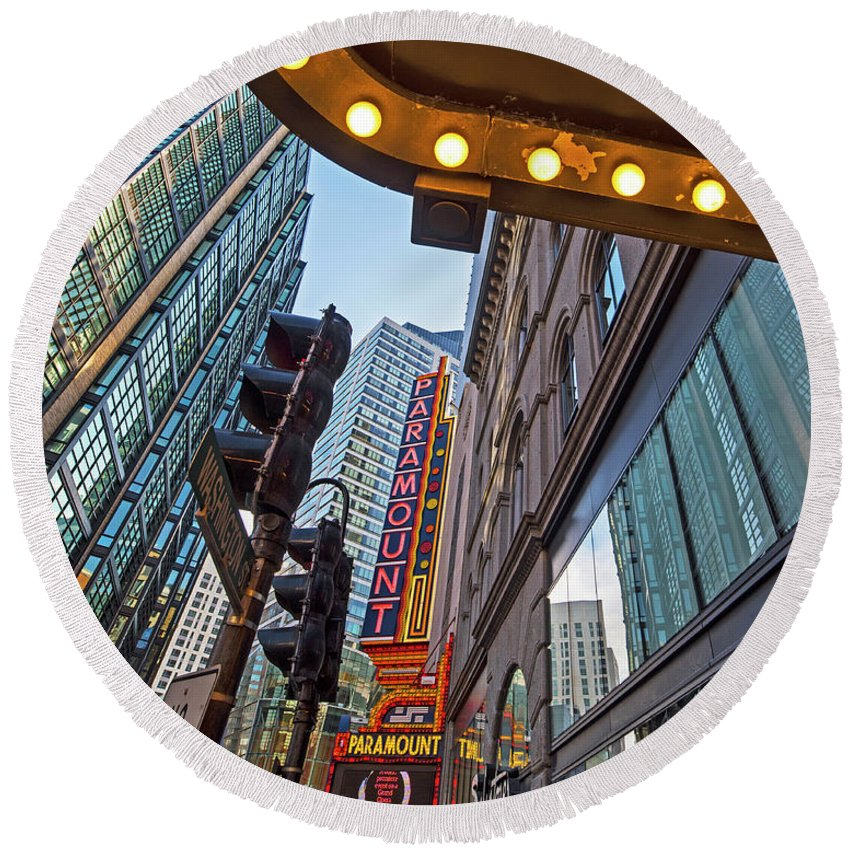 Boston Round Beach Towel featuring the photograph Looking Up At The Boston Paramount Boston Ma by Toby McGuire