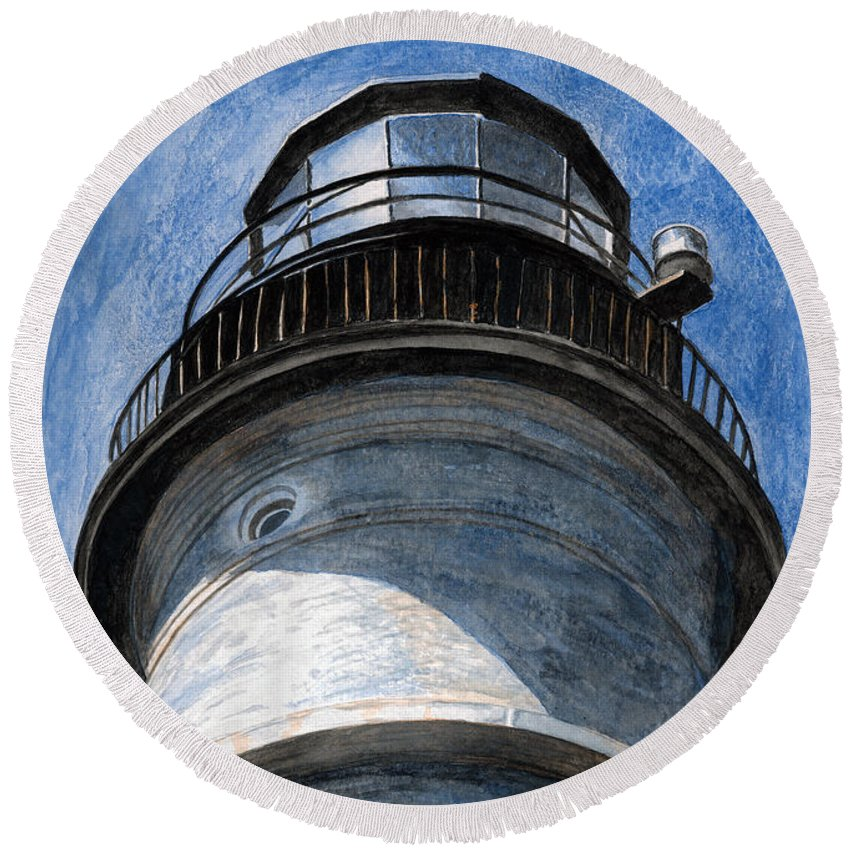 Lighthouse Round Beach Towel featuring the painting Looking Up Portland Head Light by Dominic White