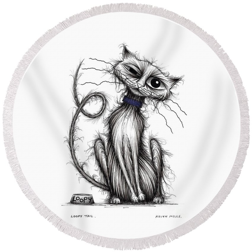 Loopy Tail Round Beach Towel featuring the drawing Loopy Tail by Keith Mills