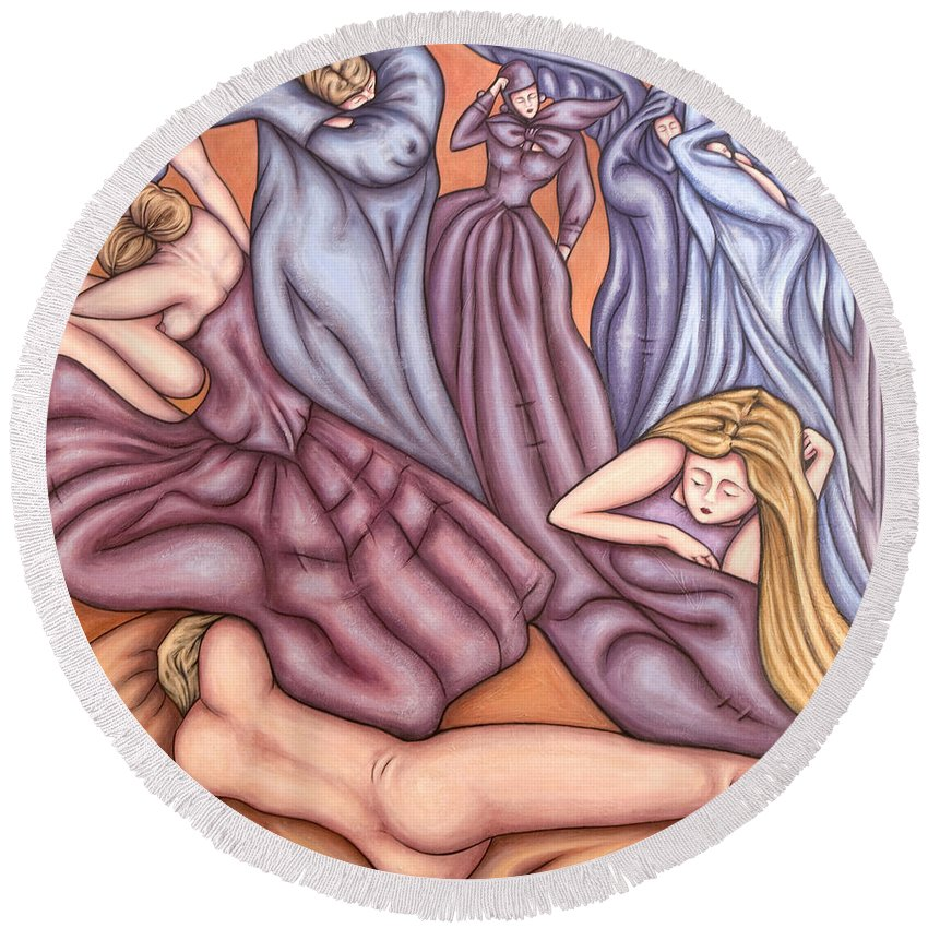Mourning Round Beach Towel featuring the painting Loosing Charles by Judy Henninger
