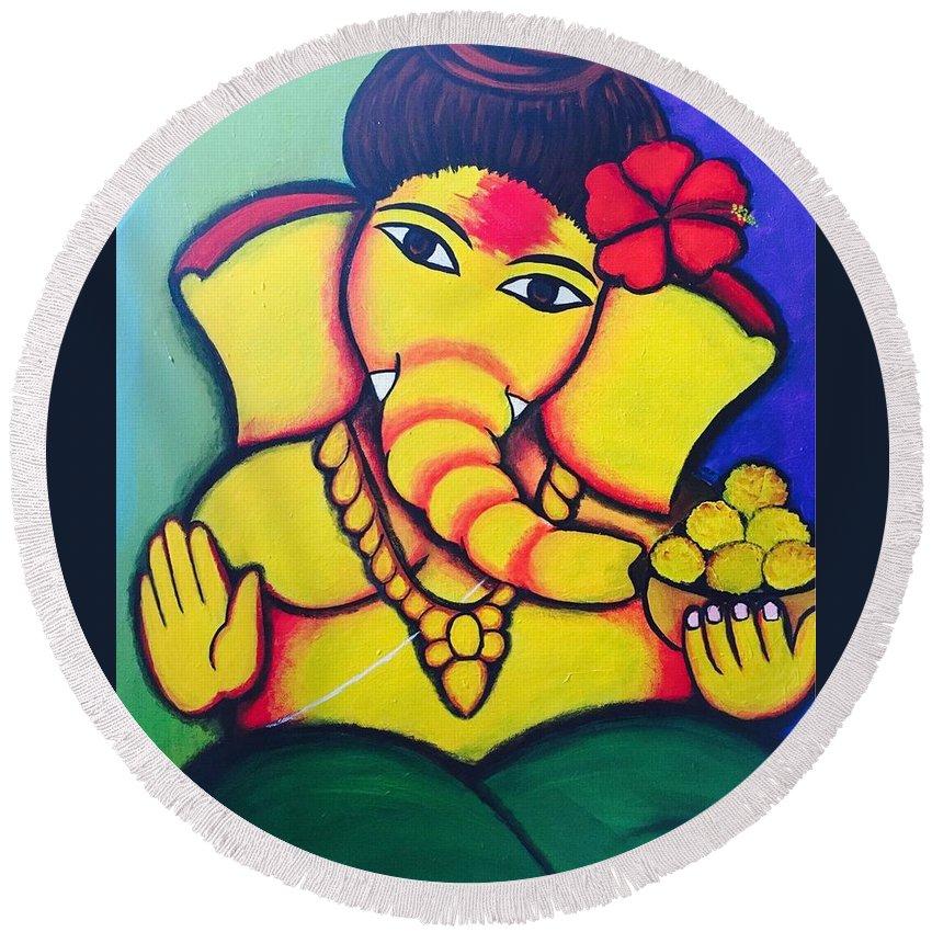 Lord Ganesh By Sarada Tewari Acrylic Paint On Canvas 24inchx28inch Round Beach Towel featuring the painting Lord Ganesh By Sarada Tewari Acrylic Paint On Canvas 24x28inch by Sarada Tewari