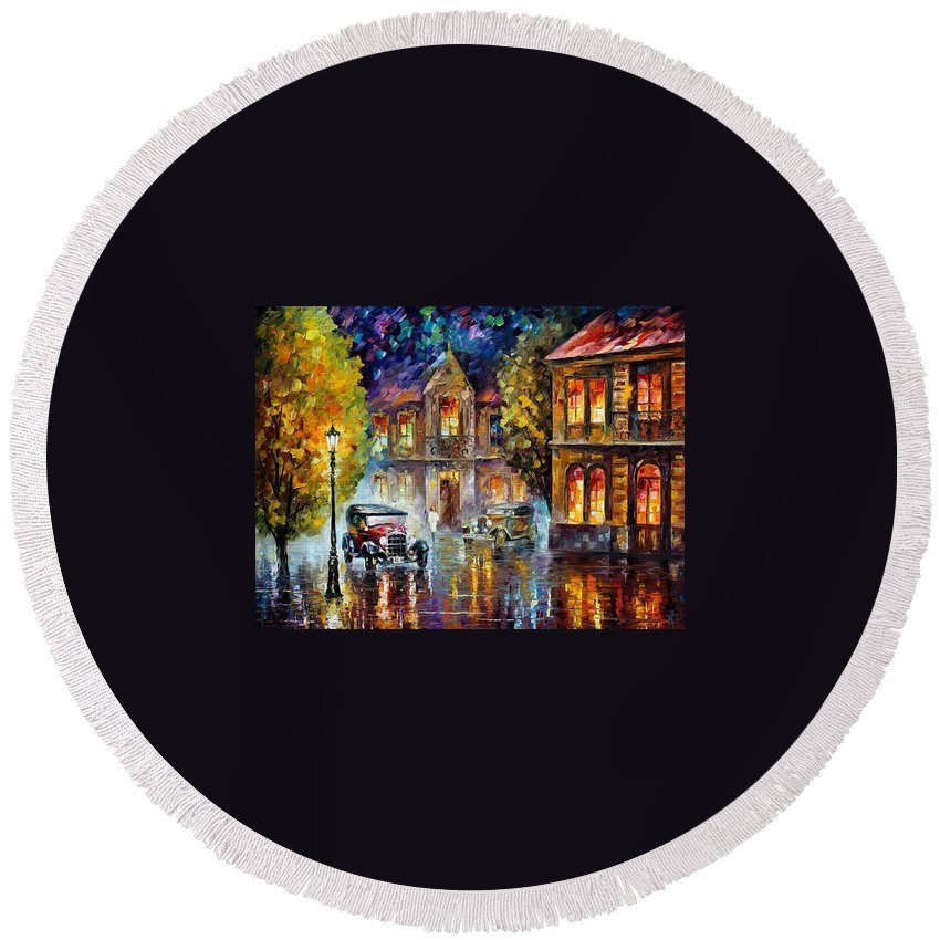 Afremov Round Beach Towel featuring the painting Los Angeles 1930 by Leonid Afremov