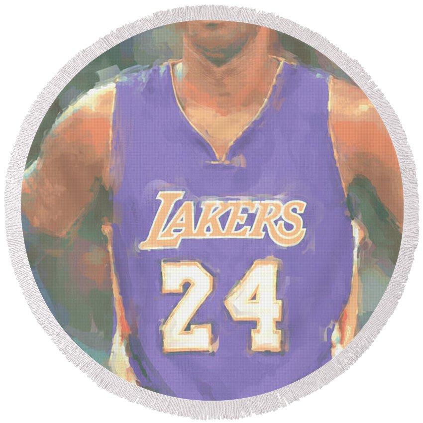 Kobe Bryant Round Beach Towel featuring the photograph Los Angeles Lakers Kobe Bryant 2 by Joe Hamilton