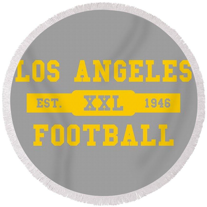 Rams Round Beach Towel featuring the photograph Los Angeles Rams Retro Shirt by Joe Hamilton