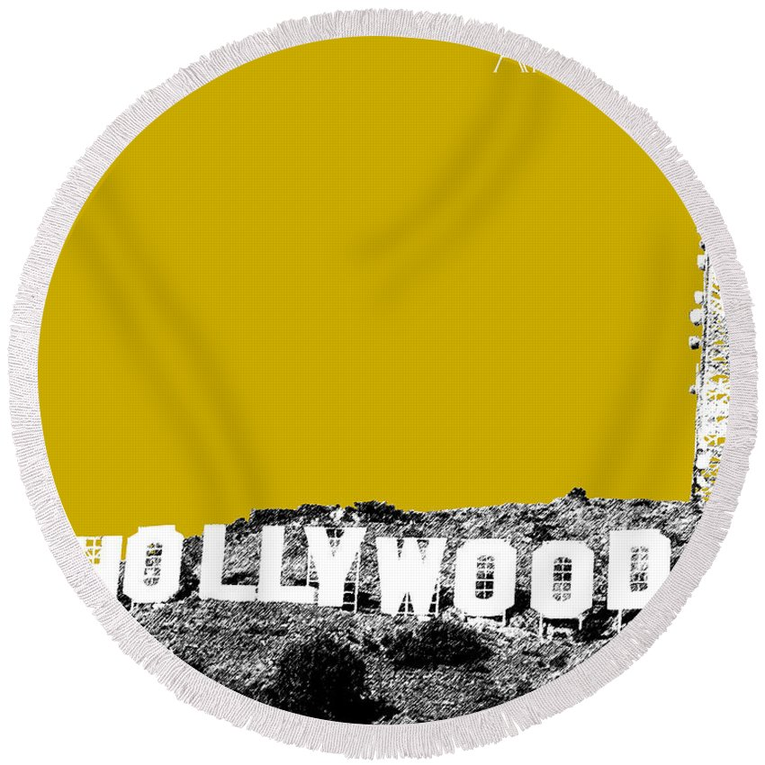 Architecture Round Beach Towel featuring the digital art Los Angeles Skyline Hollywood - Gold by DB Artist