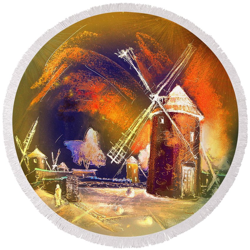 Round Beach Towel featuring the painting Los Molinos Del Quijote 01 by Miki De Goodaboom