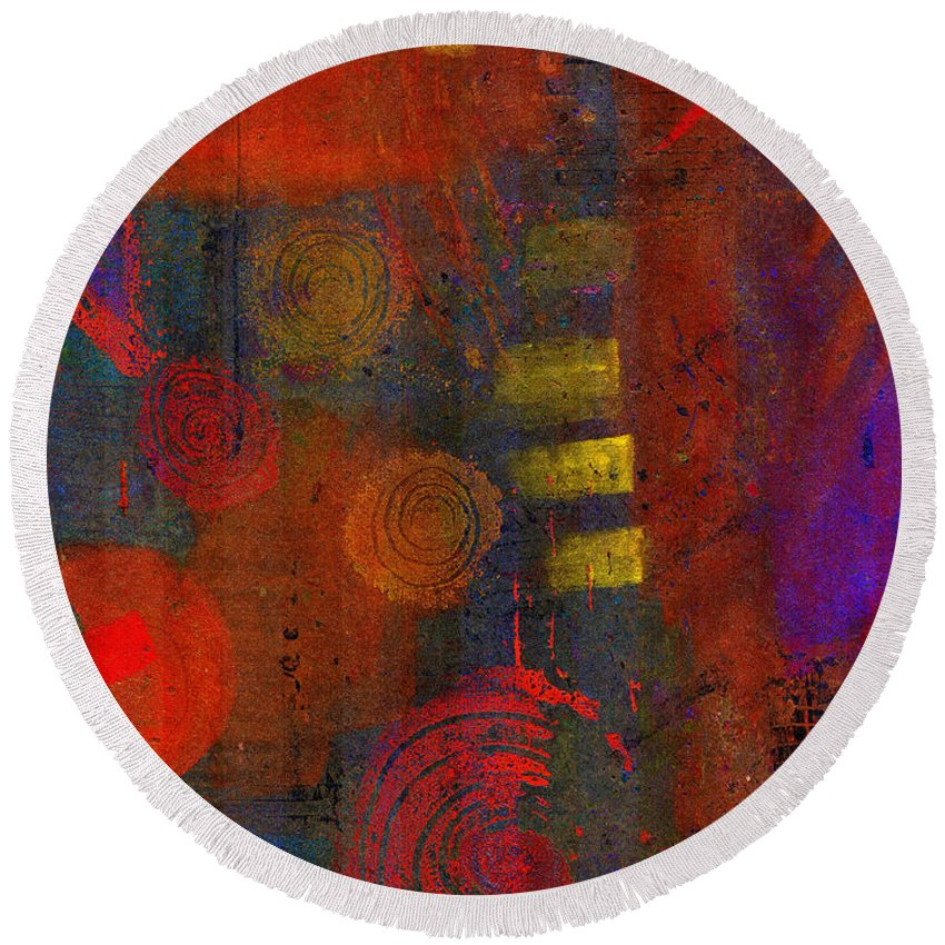 Depressed Round Beach Towel featuring the painting Loss by Angela L Walker