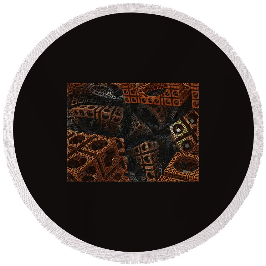 Fractal Round Beach Towel featuring the digital art Lost by Archetypus Deed