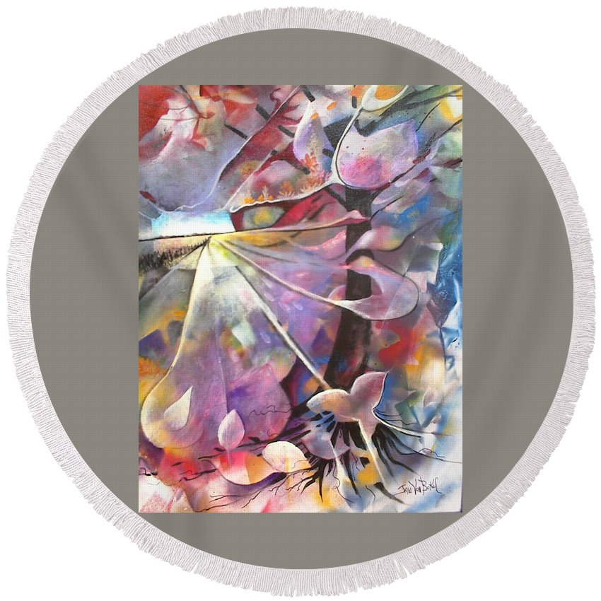 Abstract Round Beach Towel featuring the painting Lost Butterflys by Jan VonBokel
