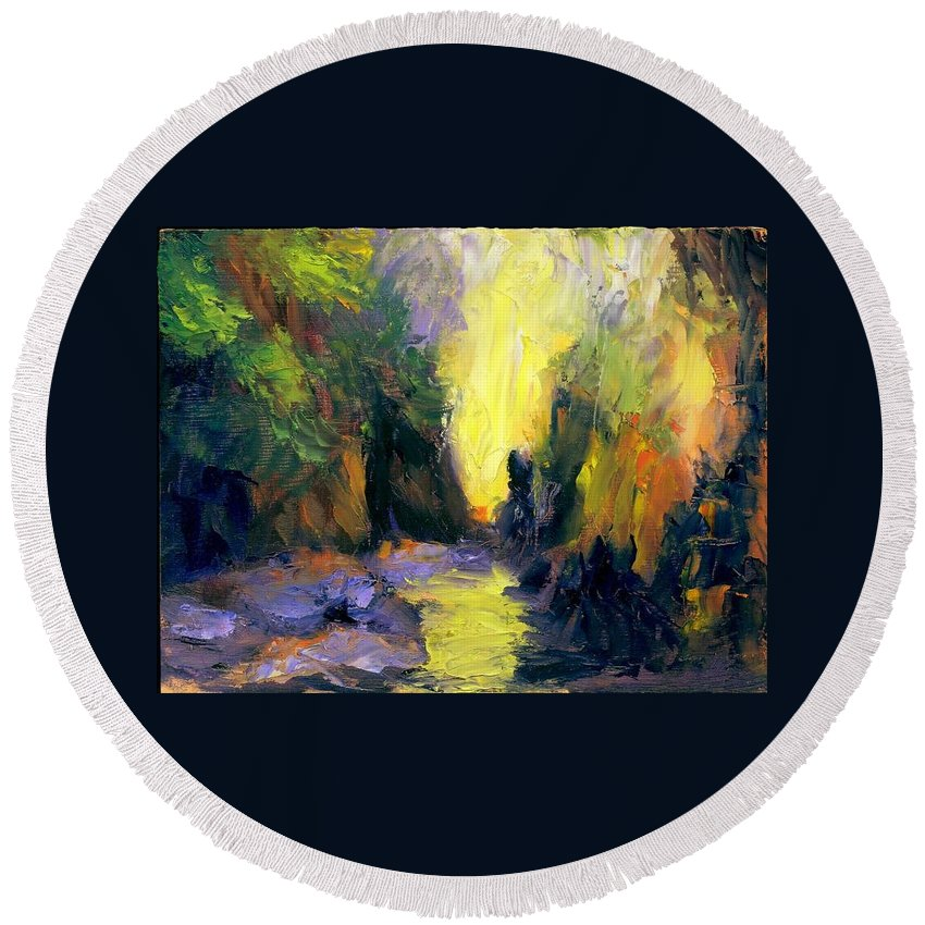 Landscape Round Beach Towel featuring the painting Lost Creek by Gail Kirtz