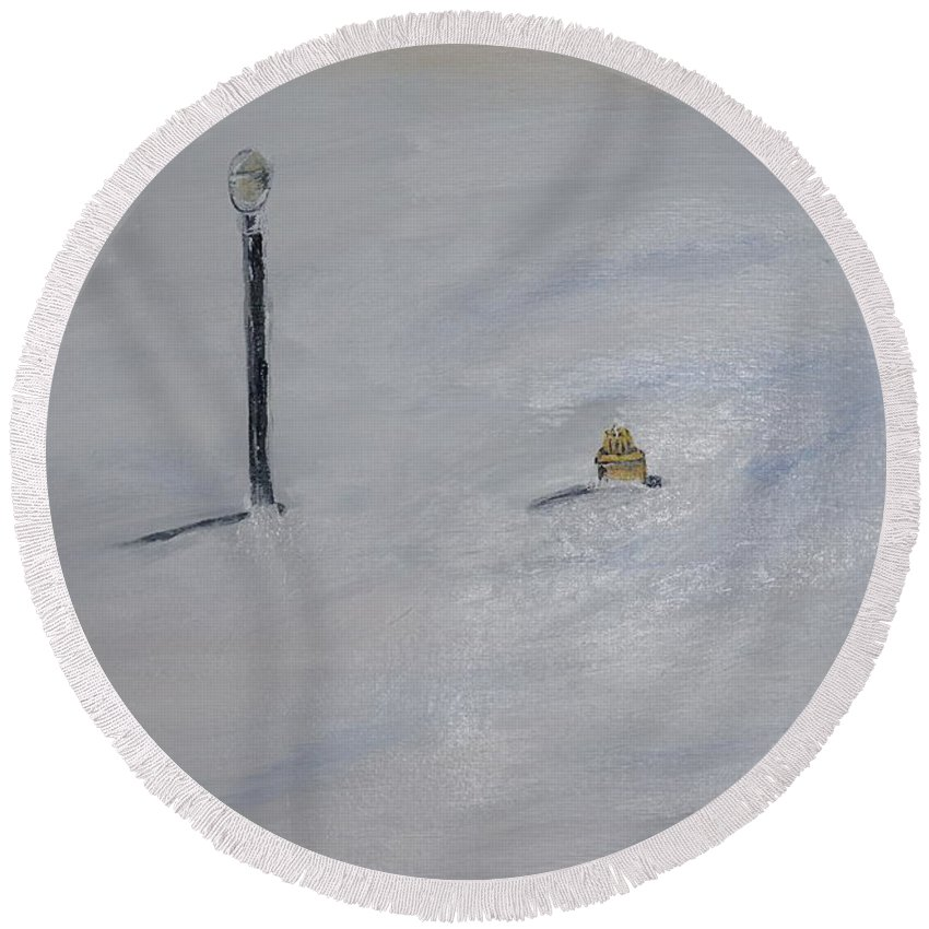 Landscape Round Beach Towel featuring the painting Lost Fire Hydrant by Jimmy Clark