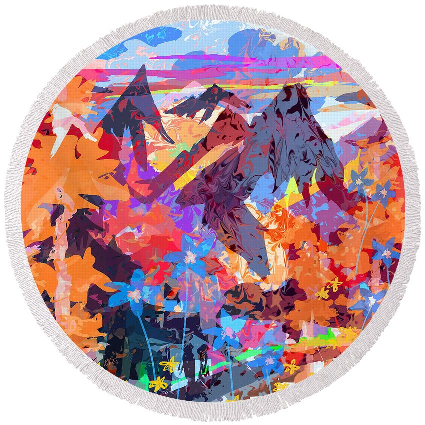 Abstract Round Beach Towel featuring the digital art Lost In Colorado by Rachel Christine Nowicki