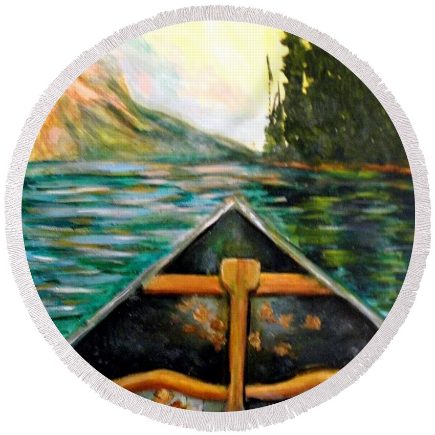 #canoe Round Beach Towel featuring the painting Lost In Nature by Linda Waidelich