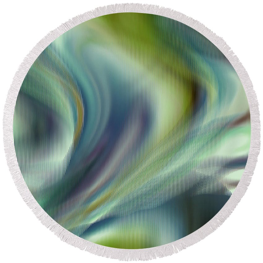 Abstract Round Beach Towel featuring the digital art Lost In The Moment by Ruth Palmer