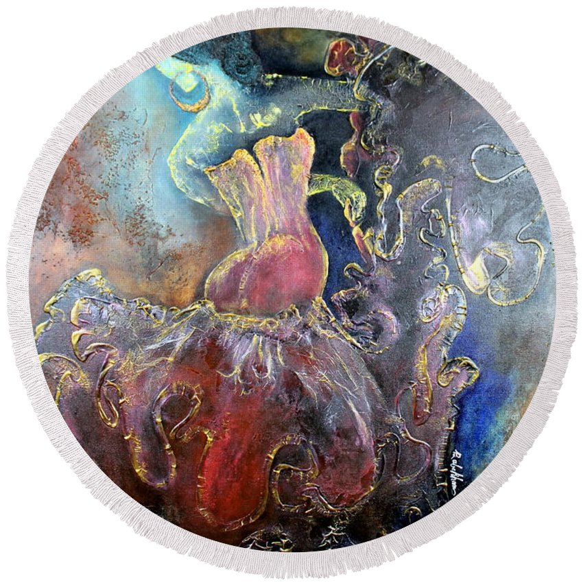 Texture Round Beach Towel featuring the painting Lost In The Motion by Farzali Babekhan