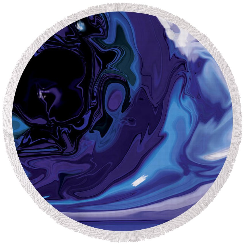 Blue Round Beach Towel featuring the digital art Lost-in-to-the-eye by Rabi Khan