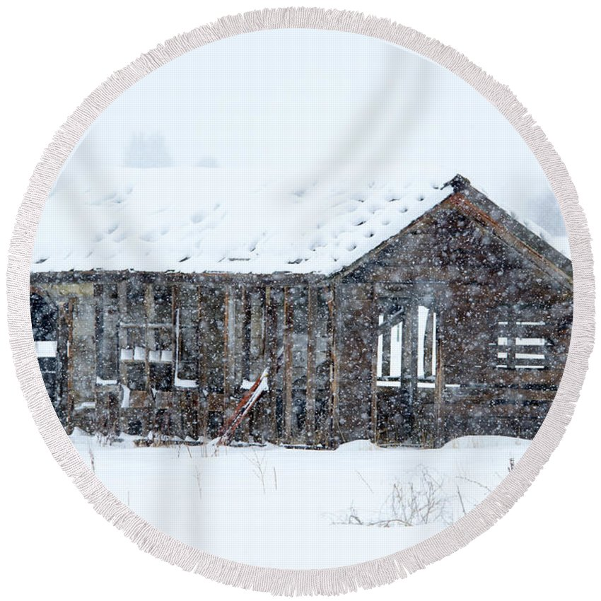 Snow Round Beach Towel featuring the photograph Lost in Winter by Mike Dawson