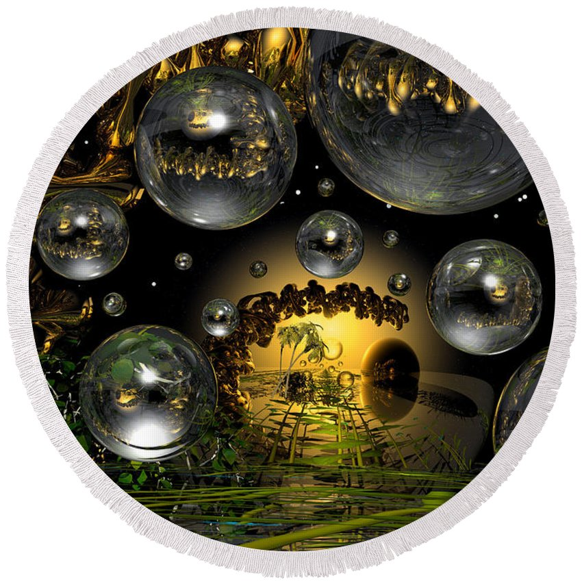 Bubble Round Beach Towel featuring the digital art Lost Paradise by Robert Orinski