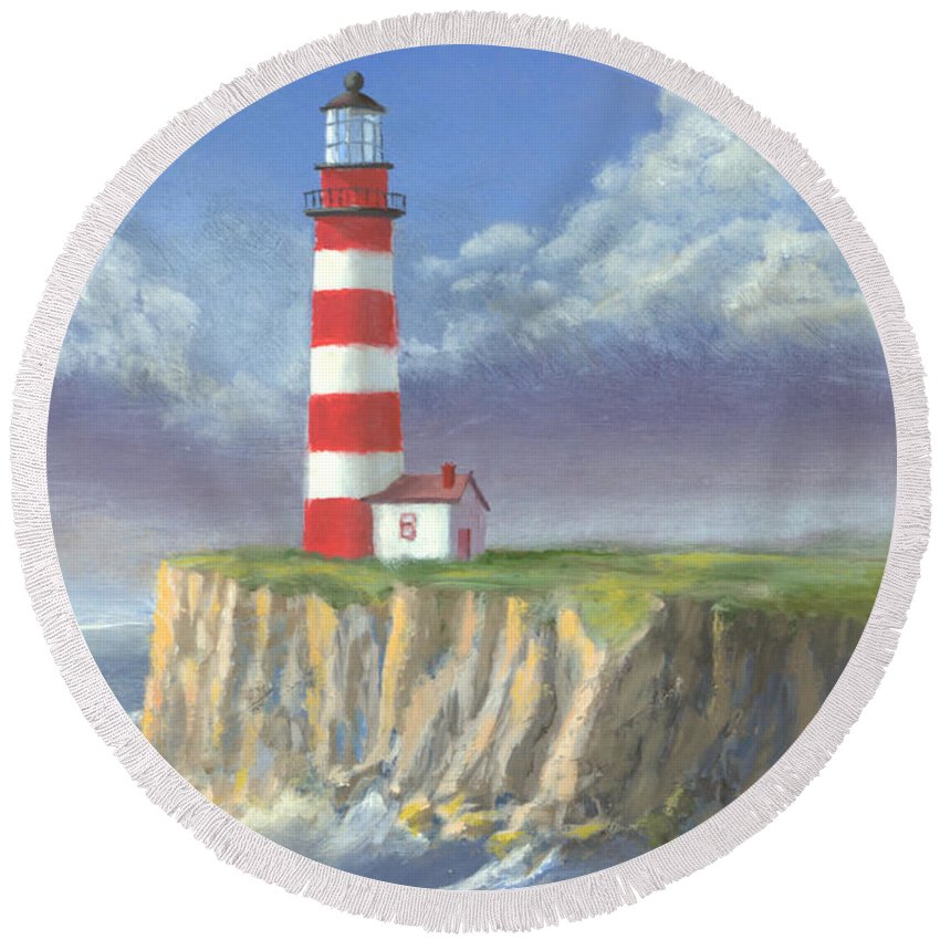 Light Round Beach Towel featuring the painting Lost Point Light by Jerry McElroy