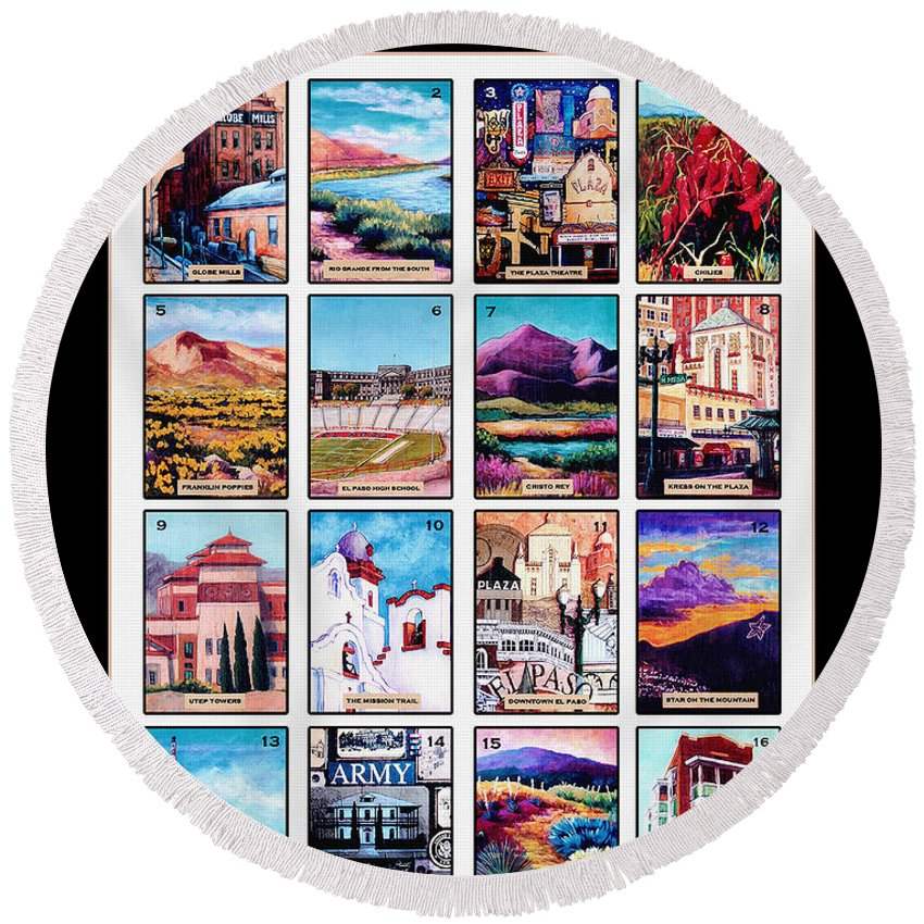 El Paso Tx Round Beach Towel featuring the mixed media Loteria El Paso by Candy Mayer