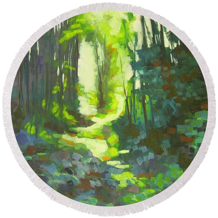 Landscape Round Beach Towel featuring the painting Lothlorian Wood by Mary McInnis