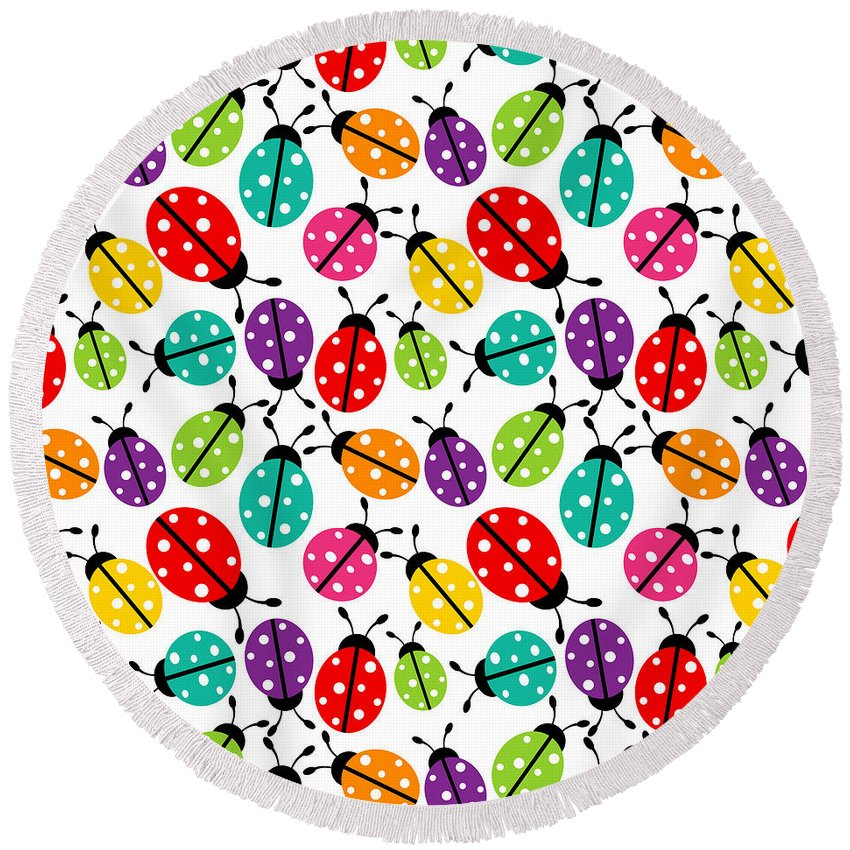 Nature Round Beach Towel featuring the painting Lots Of Crayon Colored Ladybugs by Elaine Plesser