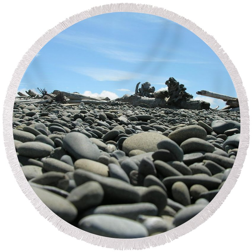 Rocks Round Beach Towel featuring the photograph Lots Of Rocks by Diane Greco-Lesser