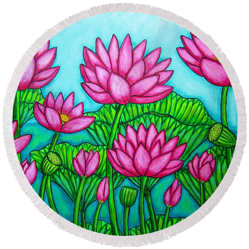 Lotus Round Beach Towel featuring the painting Lotus Bliss II by Lisa Lorenz
