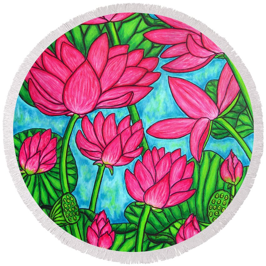 Round Beach Towel featuring the painting Lotus Bliss by Lisa Lorenz