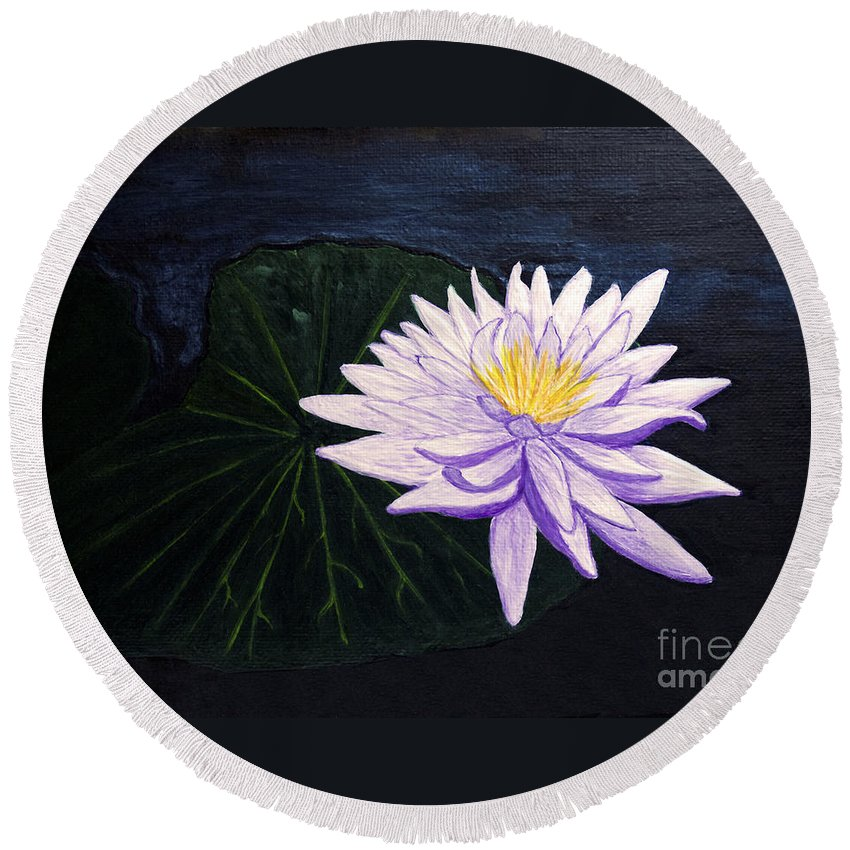 Original Painting Round Beach Towel featuring the painting Lotus Blossom At Night by Patricia Griffin Brett