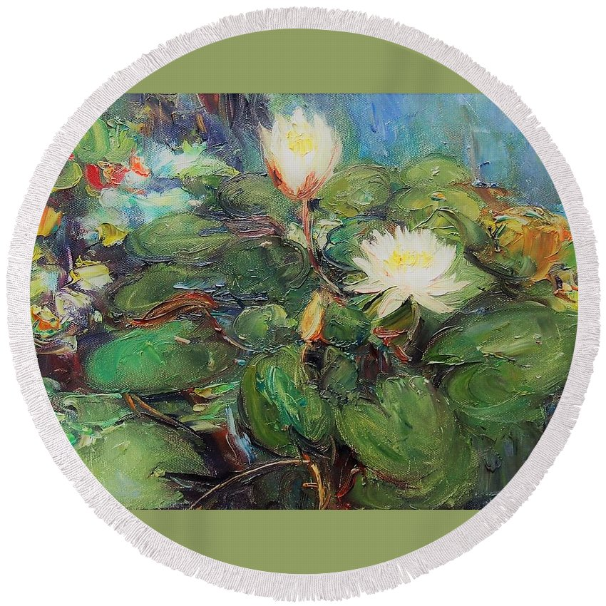 A Lotus Round Beach Towel featuring the painting Lotus by Chao Liu