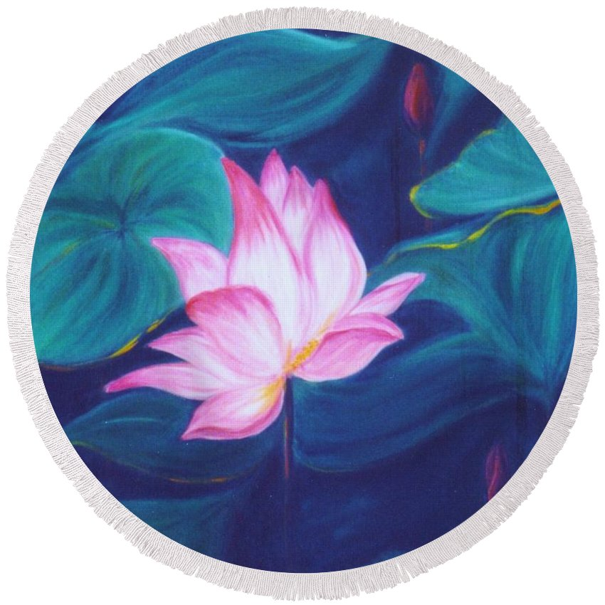 Floral Round Beach Towel featuring the painting Lotus by Dina Holland
