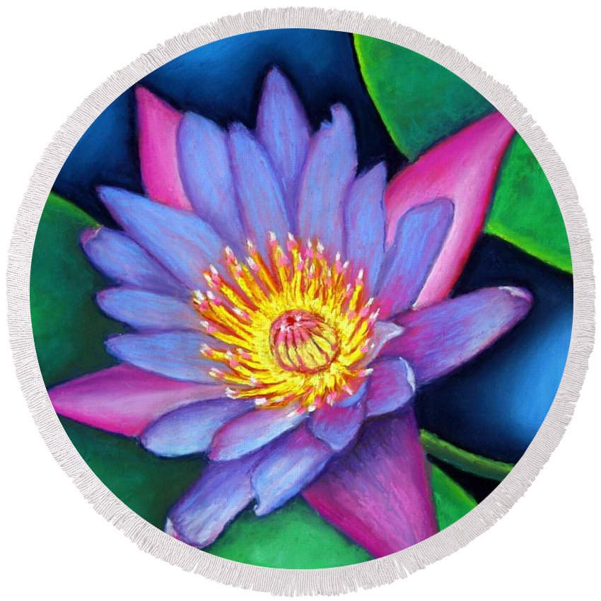 Flower Round Beach Towel featuring the painting Lotus Divine by Minaz Jantz