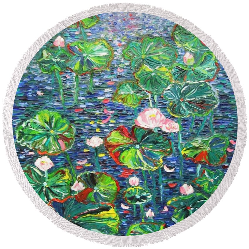 Water Lily Paintings Round Beach Towel featuring the painting Lotus Flower Water Lily Lily Pads Painting by Seon-Jeong Kim