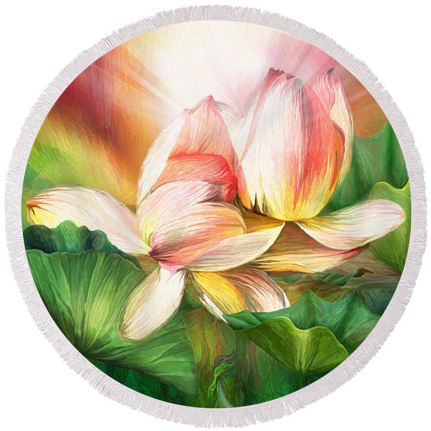 Lotus Round Beach Towel featuring the mixed media Lotus - Spirit Of Life by Carol Cavalaris