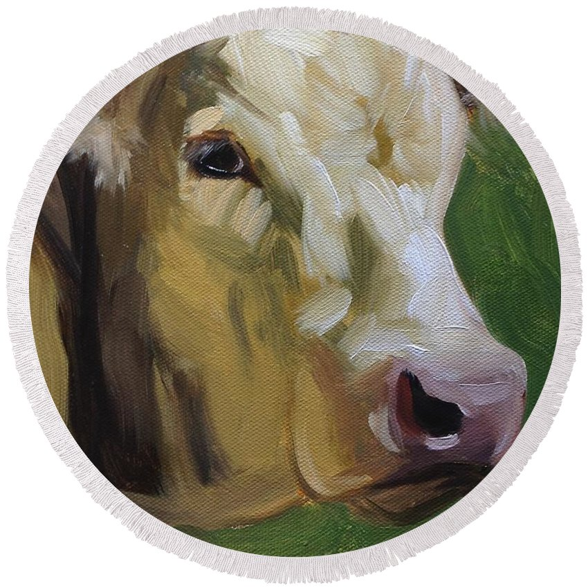 Cow Round Beach Towel featuring the painting Lou by Jennifer Counts